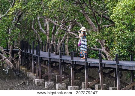 Lady take mobile photo on wooden bridge at Tung Prong ThongGolden Mangrove FieldPra Sae Rayong Thailand.