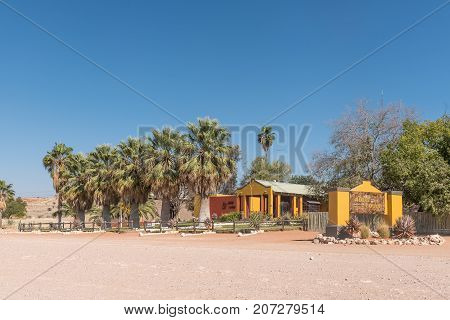 GOCHAS NAMIBIA - JULY 5 2017: The Auob Lodge on the C15-road between Stampriet and Gochas in the Hardap Region in Namibia