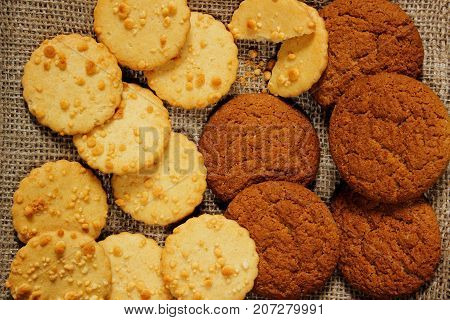 Diet cookies with oatmeal on sackcloth. close-up