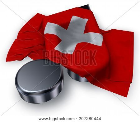 music note symbol and swiss flag - 3d rendering
