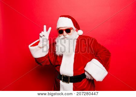 Cool Funny Playful Naughty Tourist Santa Grandfather Showing Peace Signs, Fooling Around, In Trendy