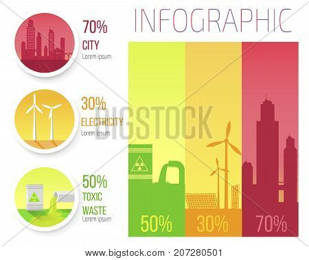 City electricity toxic waste infographic poster with windmills, overpopulated new cities, problem of smog and environment protection vector illustration