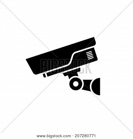 Security camera icon. Black minimalist icon isolated on white background. CCTV camera simple silhouette. Web site page and mobile app design vector element.