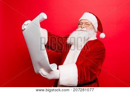 Holly Jolly X Mas, Noel Is Soon! Cheerful Saint Nicholas Studying List Of Children's Wishes And Pres