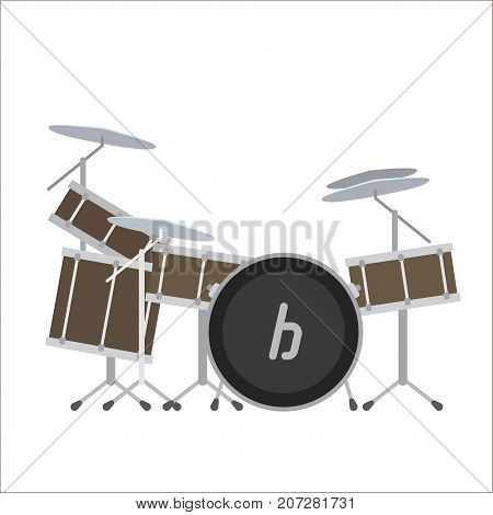 Electronic drum system vector illustration. Digital drums modern musical instrument, acoustic percussion instruments isolated on white