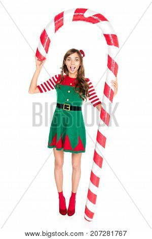 Woman With Decorative Christmas Lollipop