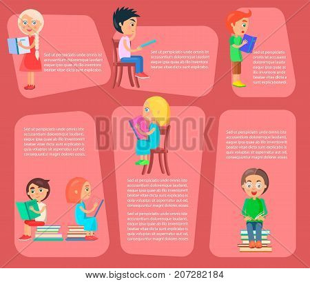 Children sit on chair or pile of textbooks, or stand and read books vector illustrations set with text on pink shapes as background.