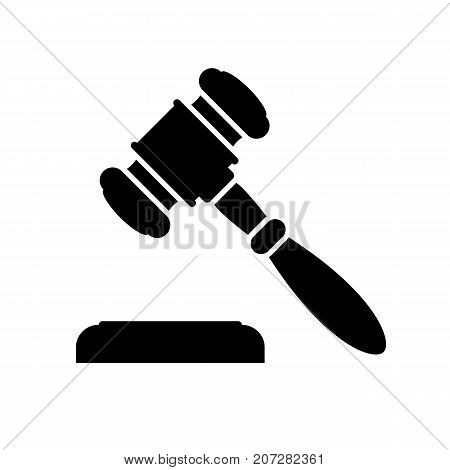 Auction or judge gavel icon. Black minimalist icon isolated on white background. Auction or judge gavel simple silhouette. Web site page and mobile app design vector element.