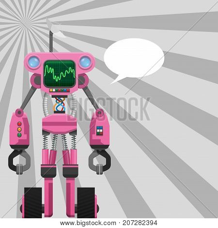 Pink robot with pincers on arms and wheels on legs, helmet monitor and speech buble vector illustration isolated, hi-tech machine