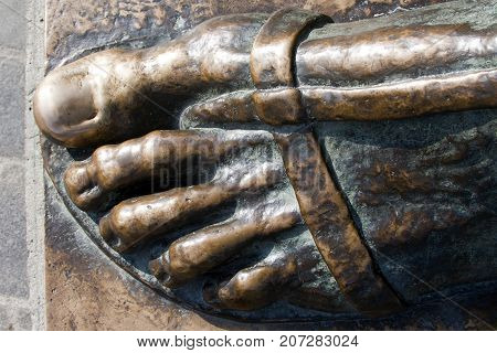 Thumb for happiness on the statue of Gregory of Nin in Split in Croatia