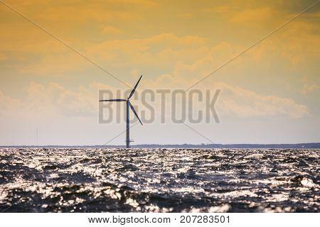 Wind Turbines Farm In Baltic Sea, Denmark
