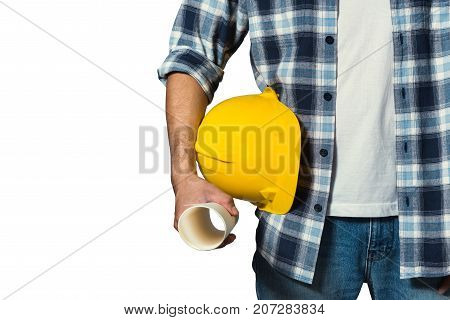 engineer holding yellow helmet for workers security