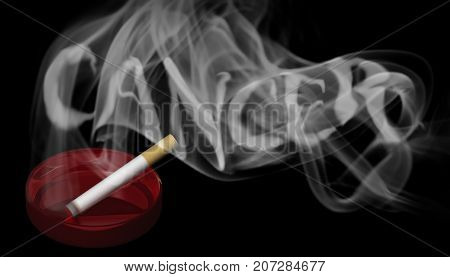 3D Illustration. A burning cigarette in a red ashtray with a warning in the smoke