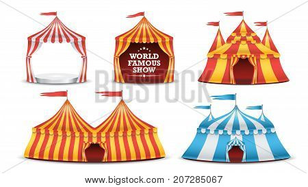 Circus Tent Set Vector. Multicolored Funfair, Carnival Holidays Concept