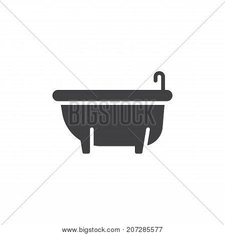 Bathtub icon vector, filled flat sign, solid pictogram isolated on white. Symbol, logo illustration.