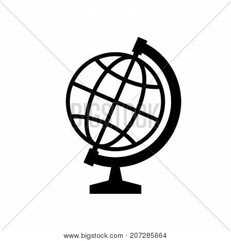 Globe icon. Black minimalist icon isolated on white background. Globe simple silhouette. Web site page and mobile app design vector element.