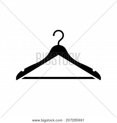 Hanger icon. Black minimalist icon isolated on white background. Hanger simple silhouette. Web site page and mobile app design vector element.