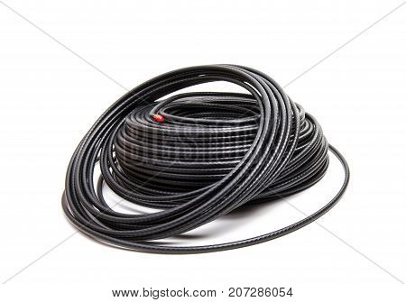 black coaxial cable on a white background