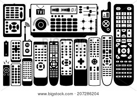 TV remote control. vector set of different remote controls
