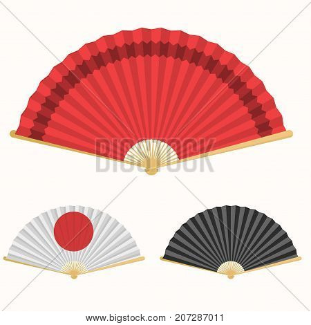 Japan folding fan. Japanese culture symbol. Hand paper fan set. Vector