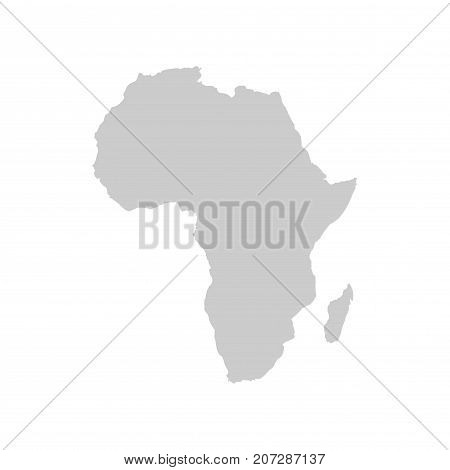 Africa continent. Gray vector template for your design and ideas.