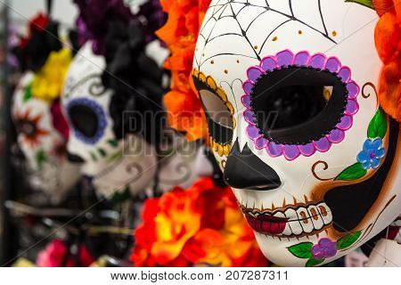 Mexican Halloween Mask Grafitti Decoration Holiday Costume Piece