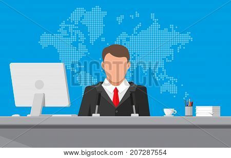 Man with microphone, desktop pc, coffee cup, world map. News announcer in the studio. Journalism, live report, breaking hot news, television and radio casts concept. Vector illustration in flat style