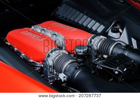 BANGKOK, THAILAND - OCTOBER 5, 2012: 4,499 cc V8 engine of Ferrari 458 Italia