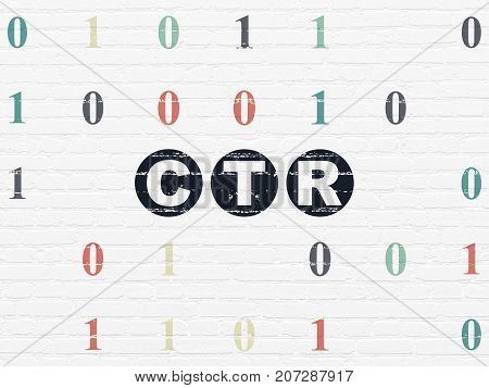 Business concept: Painted black text CTR on White Brick wall background with Binary Code