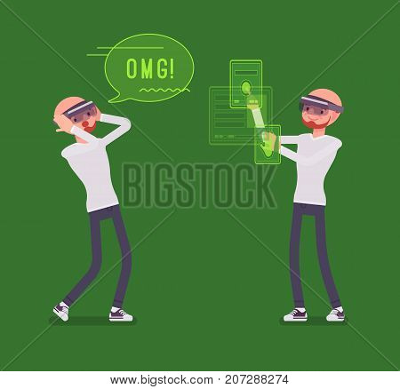 Augmented reality man having positive experience. Extracted real-world sensory, manipulating virtual objects. AR and entertainment concept. Vector flat style cartoon illustration