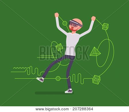 Augmented reality man having drawing positive experience. Interactive technology AR and entertainment concept. Vector flat style cartoon illustration