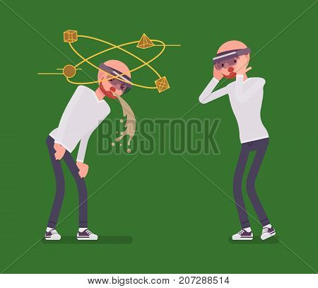 Augmented reality man having nausea and negative experience. Feeling sick, vomiting viewing three-dimensional images. AR and entertainment concept. Vector flat style cartoon illustration