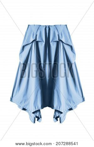 Blue casual draped midi skirt isolated over white