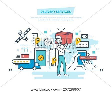 Delivery services concept. Shopping, buying, receive order, gps tracking, package shipment, pick up point, hands holding box, technical support. Illustration thin line design of vector doodles.