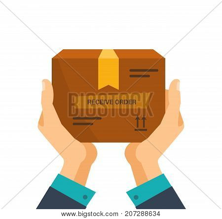 Concept for delivery service, receiving package, box from courier to customer, payment money. Delivery services, receive order, logistics and transportation, cargo shipment. Vector illustration