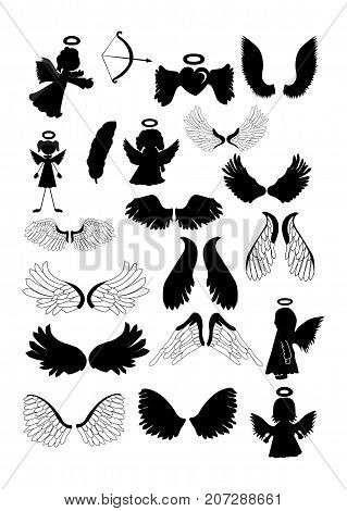 angel and angel wings vector hand drawn silhouette, Christmas angels