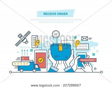 Package shipment, receive order, gps tracing. Delivery services concept. Shopping, buying, pick up point, hands holding box, technical support. Illustration thin line design of vector doodles.