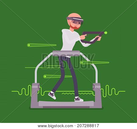Augmented reality man with aim controller on gaming treadmill. Dynamic experience in game, real-life environment. AR and entertainment concept. Vector flat style cartoon illustration
