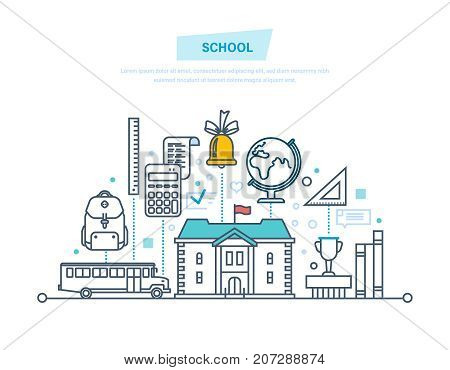 Education in school. Training, distance learning, technology, knowledge, teaching and skills. School building, transportation of children, students. Illustration thin line design of vector doodles.