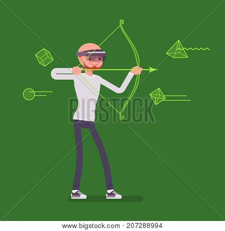 Augmented reality man in archery game. Target shooting simulation, bow and arrow to shoot, real world with computer graphics. AR and entertainment concept. Vector flat style cartoon illustration