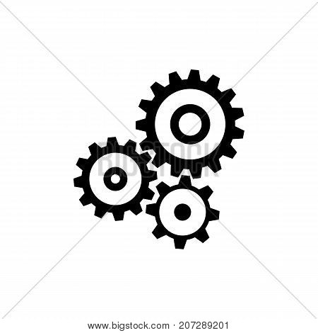 Cogwheel gear mechanism icon. Black minimalist icon isolated on white background. Mechanism simple silhouette. Web site page and mobile app design vector element.