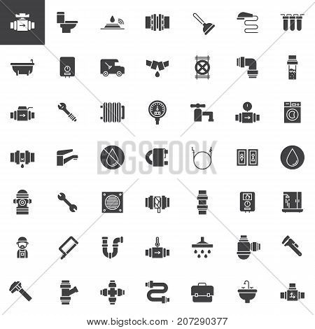 Plumbing vector icons set, modern solid symbol collection, filled pictogram pack. Signs, logo illustration. Set includes icons as valve, toilet, plumber, pipes, bathtub, wrench washer machine