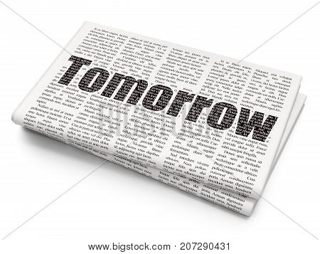 Time concept: Pixelated black text Tomorrow on Newspaper background, 3D rendering