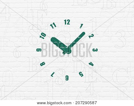 Timeline concept: Painted green Clock icon on White Brick wall background with  Hexadecimal Code