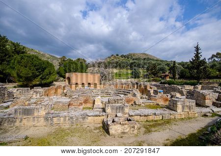 Ancient Odeon in Gortyn. Messara Plain, Crete, Greece. Gortyn, Gortys or Gortyna is a archaeological site on the Mediterranean island of Crete, UNESCO tentative list