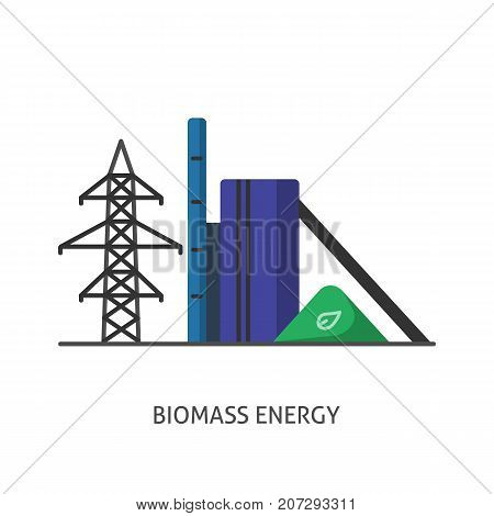 Biomass recycling plant icon in flat style. Renewable energy power station symbol isolated on white background. Alternative energy concept.