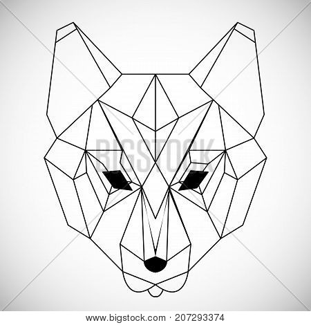 Geometric vector head of wolf drawn in line or triangle style, suitable for modern tattoo polygonal templates, icons or logo elements. Black and white wolf head. Vector illustration