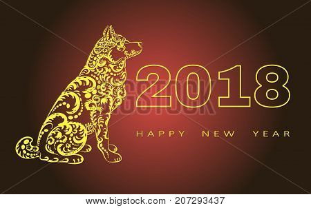 2018 Happy New Year greeting card.year of the dog. Chinese New Year. with hand drawn doodles.for banners, posters, flyers. illustration