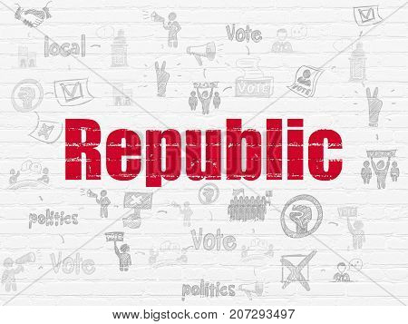 Political concept: Painted red text Republic on White Brick wall background with Scheme Of Hand Drawn Politics Icons