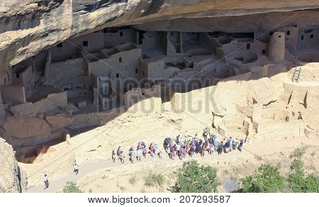 DURANGO, COLORADO, JUNE 23. Mesa Verde National Park on June 23, 2017, near Durango, Colorado. A View of a Cliff Palace Guided Tour at Mesa Verde National Park in Colorado.